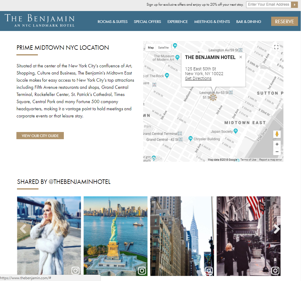 Benjamin Hotel custom Instagram feed and map